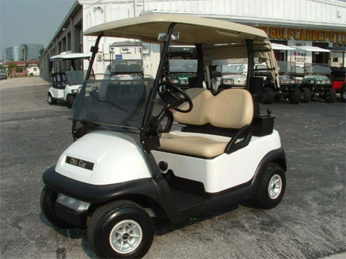 Club Car Precendent Blanco Con Luces Todos Los Colores Stock