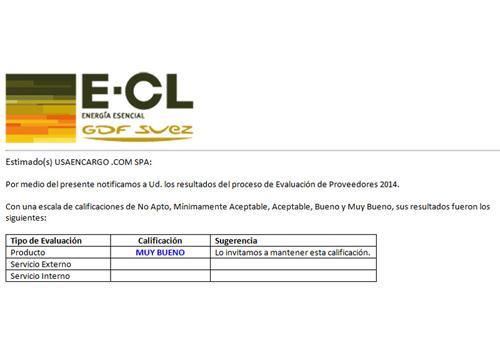 los resultados del proceso de Evaluación de Proveedores 2014