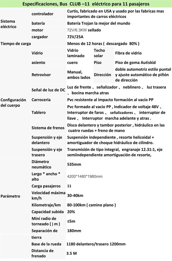 CLUB, BUS ELECTRICO PARA 11 PERSONAS