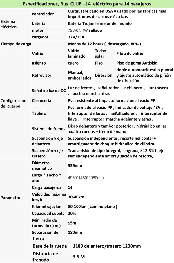CLUB, BUS ELECTRICO PARA 14 PERSONAS specs