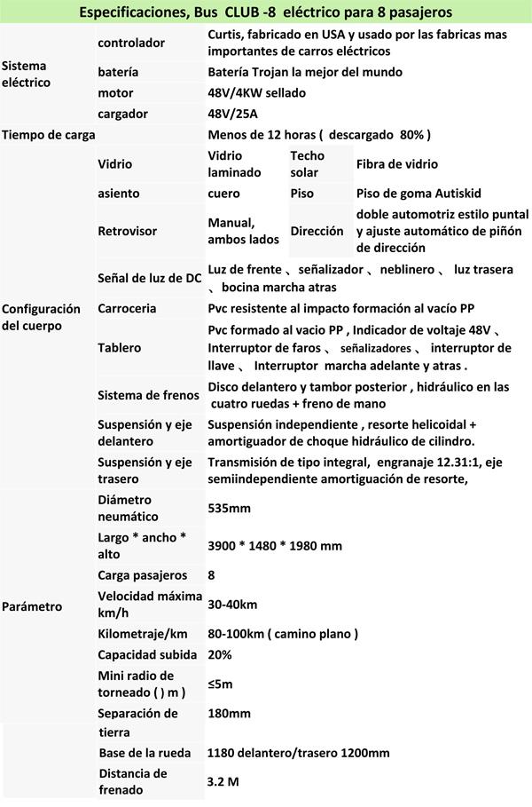 CLUB, BUS ELECTRICO PARA 8 PERSONAS spec details