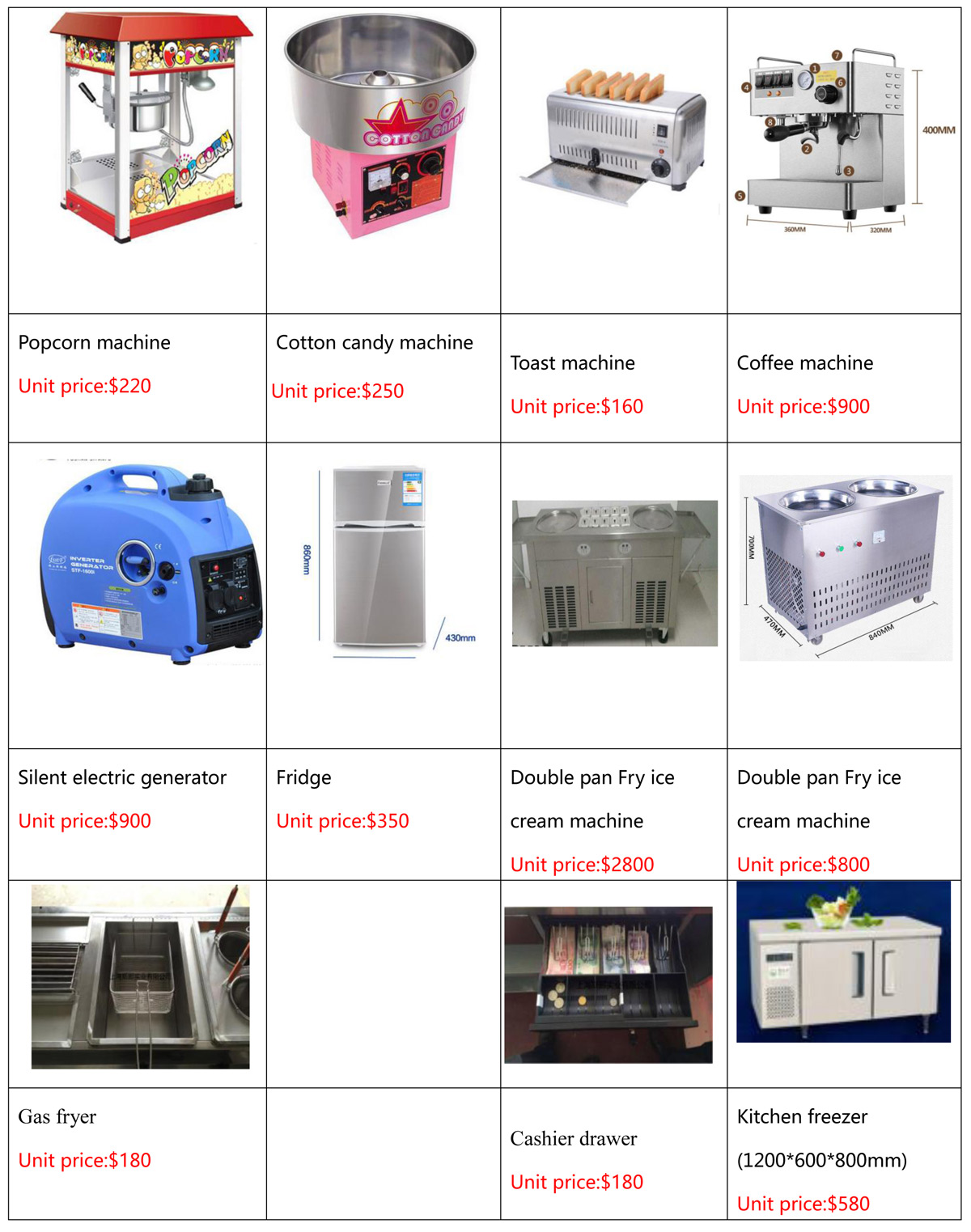 Food Trailers accessories