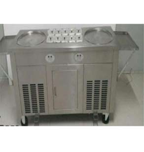 Double pan fry ice cream machine